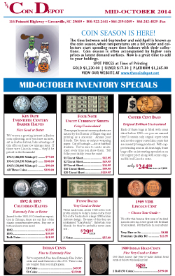 Rare Coin Express - Mid-October 2014